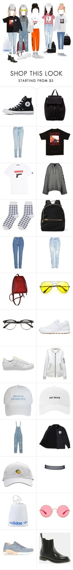 """airport fashion"" by ultjmint ❤ liked on Polyvore featuring Converse, Mansur Gavriel, Topshop, Hyein Seo, Puma, Gucci, Sophie Hulme, New Balance, adidas and BLK DNM"