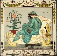 Tile - designed by Walter Crane    British Museum  Depicting Night  Made by Maw & Co. 1878