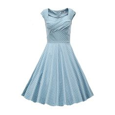 Rotita Light Blue Ruched Front A Line Dress ($29) ❤ liked on Polyvore featuring dresses, blue, blue polka dot dress, light blue dress, blue knee length dress, vintage dresses and ruched dresses