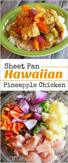 It's no secret that I am in love with Sheet Pan dinner recipes. I love the ease of cooking both protein and veggies on two large sheet pans. Not only does it allow for easy prep, easy clean u… dinner clean eating Sheet Pan Hawaiian Pineapple Chicken Clean Eating Recipes For Dinner, Healthy Dinner Recipes, Cook Dinner, Eating Clean, Healthy Dinners For Two, Paleo Dinner, Pineapple Recipes Healthy, Chicken Recipes For Dinner, Healthy Dinner For One