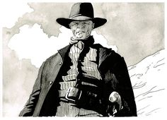 Westworld - Ed Harris - The Man in Black original ink drawing by Mygrimmbrother on Etsy