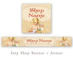 Etsy shop banner & avatar Perconalized banner Vintage by FrezeArt, $3.80