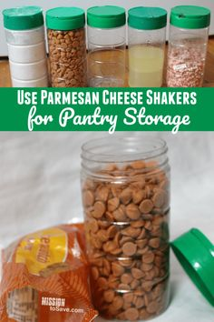 Check out some clever ways to recycle and repurpose Parmesan Cheese Shakers for Pantry Storage! Save the environment and some money with the Free storage solution. Frugal Family, Frugal Living Tips, Organization Hacks, Organizing Tips, Ways To Recycle, Pantry Storage, Recycling Bins, Homemaking, Parmesan