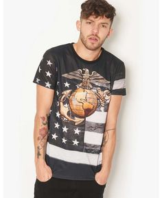 Criminal Damage Marine Corps T-Shirt - BANK Fashion, bringing you all the latest fashion for women and men from your favourite designer brands.