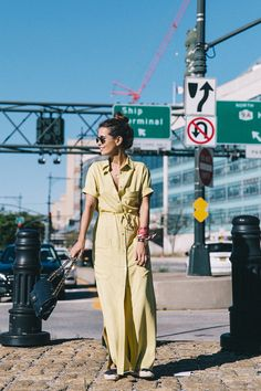 Sara Escudero is a vision of summer beauty in this bright yellow maxi shirt dress from Asos! Pair a similar piece with espadrilles and a leather bag to steal Sara's summer style. Yellow Fashion, Retro Fashion, Trendy Fashion, Women's Fashion, Dress Fashion, Fashion Trends, Maxi Shirts, Maxi Shirt Dress, Wedges Outfit