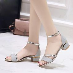 2019 Summer Sandals - Want to buy - Zapatos Pretty Shoes, Cute Shoes, Black Strappy Heels, Low Heels, Silver Shoes Low Heel, Black Shoes, Stylish Sandals, Open Toe Shoes, Fashion Sandals
