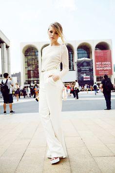 #all white  jean trouser #2dayslook #new #fashion #nice  www.2dayslook.com