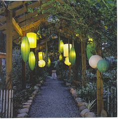 Paper lanterns for outdoor spaces Garden Lanterns, Paper Lanterns, Feng Shui Garden, Asian Design, Outside Living, Porch Lighting, My Secret Garden, Summer Garden, Garden Inspiration