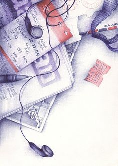 sketch by Andrea Joseph. This drawing looks like it has been done with biro pens. I particularly like this effect as it illustrates the theme of simple objects. The use of minimal colours on the train ticket helps to make the sketch more exciting. Art And Illustration, Illustrations, Doodles Zentangles, Ballpoint Pen Drawing, Observational Drawing, A Level Art, Wow Art, Gcse Art, Everyday Objects