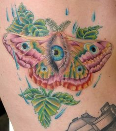 Butterfly Moth Eye Leaf tattoo by Melissa Fusco of Club Tattoo Arizona