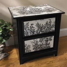 Decoupage fabric on furniture -- must try this!
