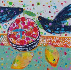 Fun blackbirds :-) Cherry Pickers by Claire West www.claire-west.com