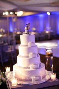 Classic Hollywood Glam White Ribbon Round Wedding Cake Wedding Cakes Photos & Pictures - WeddingWire.com