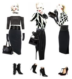 """Sketch and Pencilskirts"" by marionmeyer on Polyvore featuring Mode, Jean-Paul Gaultier, Via Masini 80, Boohoo, Alaïa, Michael Kors, Giuseppe Zanotti, Ryder, Christian Louboutin und Astley Clarke"