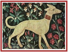 15th century tapestry - detail of a dog