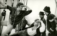 """In rehearsal: Kevin Kline, left, and Treat Williams (Mr. Kline's understudy) as the Pirate King in the 1981 Broadway production of the Gilbert and Sullivan show """"Pirates of Penzance""""."""