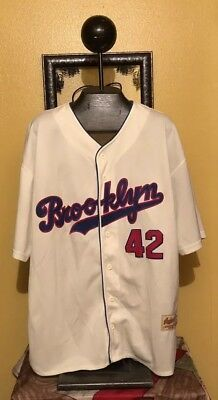 b92152c79 THROWBACK JACKIE ROBINSON BROOKLYN DODGERS MLB BASEBALL JERSEY ACKERS SEWN  XL