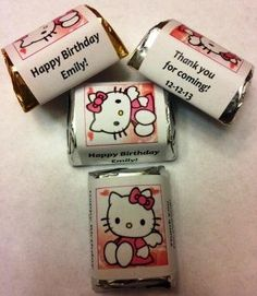 Amazon.com: 90 Hello Kitty Themed Birthday Candy wrappers/stickers/labels Personalized Favors, stickers are great for Birthday, Baby Shower or any Party!: Health & Personal Care
