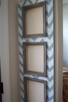 "i love this idea - putting up a large ""canvas"" or wood piece decorated w/ chevron, then pics on top of it - would work great in an apartment or rental home! easily removable."