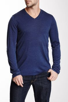 b872fc17d922d Pintuck Merino Wool Blend V-Neck Sweater. John VarvatosMerino ...