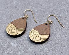 art deco earrings Wood Earrings Ocean Earrings gold Earrings wooden earrings Gift for girlfriend Tiny Stud Earrings, Wooden Earrings, Star Earrings, Wooden Jewelry, Gold Earrings, Drop Earrings, Wave Jewelry, Ocean Jewelry, Jewelry Display Stands