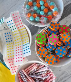 polka dotparty: favors included candy dots, gumballs, candy sticks + polka dot yo-yo's from Oriental Trading Co.   {Blonde Designs Blog}