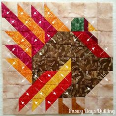Fall into a Quilt Along: Turkey — Snowy Days Quilting Quilt Square Patterns, Barn Quilt Patterns, Holiday Quilt Patterns, Scrappy Quilt Patterns, Fall Patterns, Canvas Patterns, Small Quilts, Mini Quilts, Bird Quilt Blocks