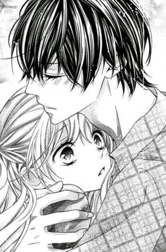 Kawaii B&W picture of an anime/manga couple. The girl character has a particularly good expression. =)