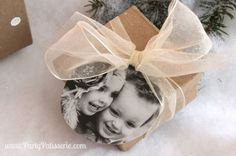 Gift and gift tag with photo of kids on it #ontheblog
