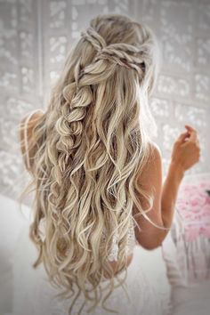 10 pretty braided hairstyles for the wedding - wedding hairstyles with long . - 10 pretty braided hairstyles for the wedding – wedding hairstyles with long hair – - Pretty Braided Hairstyles, Elegant Hairstyles, Hairstyles 2018, Gorgeous Hairstyles, Prom Hairstyles For Long Hair Curly, Latest Hairstyles, Homecoming Hairstyles Down, Hairstyles For Dances, Hairstyles For Bridesmaids