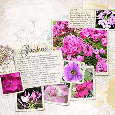 Summer Gardens #scrapbook #garden #flowers #pink #botanical #vintage