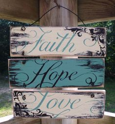 Wire Hung Faith Hope and Love Sign, 12 Rustic, Wooden Sign, Shabby Chic, … - Diy Pallets Pallet Crafts, Wooden Crafts, Pallet Projects, Diy Projects, Diy Crafts, Pallet Ideas, Craft Tutorials, Project Ideas, Wood Ideas
