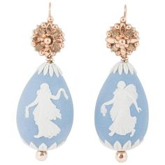 Preowned Early Victorian Wedgewood Drop Earrings (€2.595) ❤ liked on Polyvore featuring jewelry, earrings, drop earrings, multiple, preowned jewelry, pre owned jewelry, victorian earrings, victorian jewellery and victorian jewelry