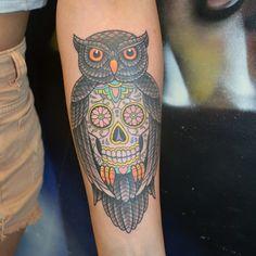 owl-and-sugar-skull-troy-slack.jpg (640×640)