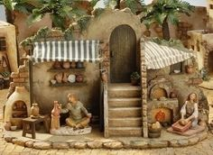 "$115.00-$0.00 For the Fontanini 5"" Collection By Roman Inc. Item #54638 3-piece set Set includes the shop, potters table and a bread basket Each piece is skillfully sculpted and hand-painted in a rich, old world style palette, by master, Italian artisans The log fire in the bakers shop lights up using the On/Off switch located on the back Battery operated (batteries included) Actual Dimensions:  ..."