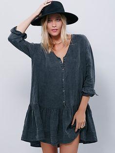 Devon Dress | Effortless and oversized drop-waist linen mini shirtdress with long sleeves and ruffle hem. American made.