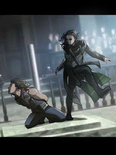 attack on titan x thor and loki ХД Marvel Dc, Marvel Memes, Marvel Comics, Loki Sad, Thor X Loki, Anime Pictures, Spideypool, Loki Laufeyson, Tom Hiddleston Loki