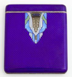 Art Deco Lapis Guilloche Enamel on .935 Sterling Cigarette Case.