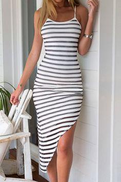 Stylish Spaghetti Strap Striped Asymmetrical Women's Dress Summer Dresses | RoseGal.com