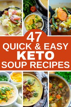 Having a solid list of soup options is essential for any healthy lifestyle. For the low carb life, we have put together an easy list of soup recipes to keep you warm, cozy, and well fed! #lowcarbsoups #ketosoups Spicy Cauliflower Soup, Paleo Chicken Soup, Chicken Zoodle Soup, Keto Soup, Chicken Recipes, Pea And Ham Soup, Creamy Potato Soup, Healthy Soup Recipes, Lunch Recipes