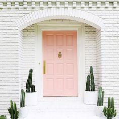 Cute palm Springs inspired exterior: white brick, pink door, tons of cacti! Home Design, Design Ideas, Home Interior, Interior And Exterior, Interior Doors, The Doors, Entry Doors, Sliding Doors, Front Door Colors