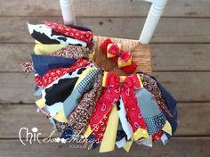 Fabric Tutu, Cowgirl Jessie, Shabby Chic Fabric Tutu, Baby Tutu, Photo Prop Tutu, Childrens Toddler Infant Tutu, Birthday, JESSIE CHIC. $35.00, via Etsy.