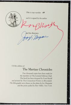 [Limited Editions Club]. SIGNED LIMITED EDITION. Ray Bradbury.The Martian Chronicles. LEC, 1974. One of 2,000.