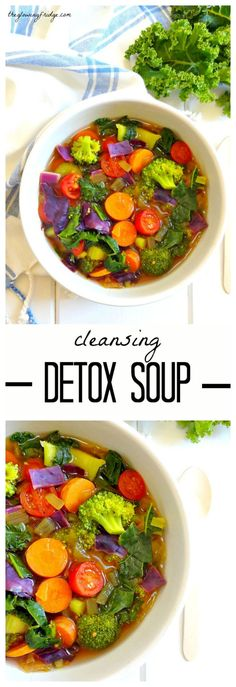 Cleansing Detox Soup Immune-boosting wholesome vegan oil free and gluten free warming soup. Perfect for fighting off colds and flu while cleansing with natural delicious immunity boosting whole foods. Detox Recipes, Whole Food Recipes, Vegetarian Recipes, Cooking Recipes, Healthy Recipes, Vegan Vegetarian, Veggie Soup Recipes, Whole Foods, Healthy Snacks