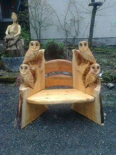 Owl Chair Wood Carving Art