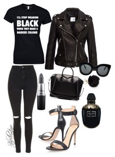 """Black everything"" by stylingbystizzo on Polyvore featuring moda, Gianvito Rossi, Topshop, MAC Cosmetics, Alexander McQueen, Anine Bing, Givenchy e CÉLINE"