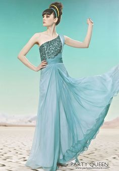 Blue One Shoulder Stamping Process Long Evening Prom Bridesmaids Gowns Dresses