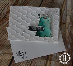 Stampin' Up! Yummy in My Tummy Monster Karte zum Geburtstag für kleine und große Kinder - Party Time Card with Urban Textured Impressions.