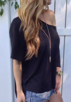 Casual Sleeve Loose-Fitting Solid Color T-Shirt For Women Black Off Shoulder Top, Color Shorts, Half Sleeves, Short Sleeves, Long Sleeve, Vintage Fashion, T Shirts For Women, Clothes, Fashion Ideas