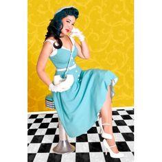 Bettie Page Clothing Sea Breeze Blue Circle Swing Dress